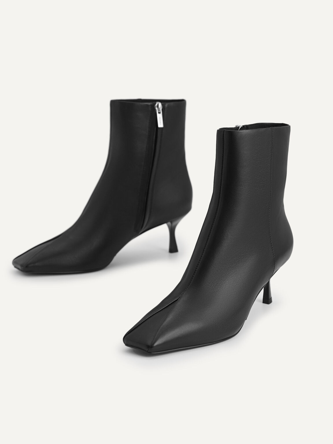 Square-Toe Heeled Ankle Boots, Black, hi-res
