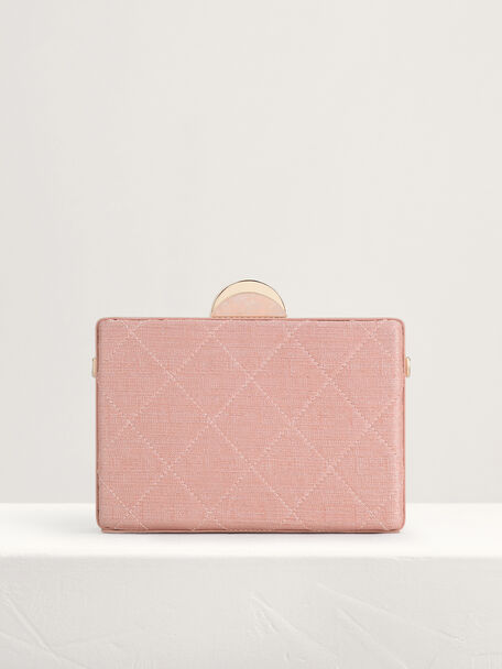 Quilt Boxy Clutch, Peach, hi-res