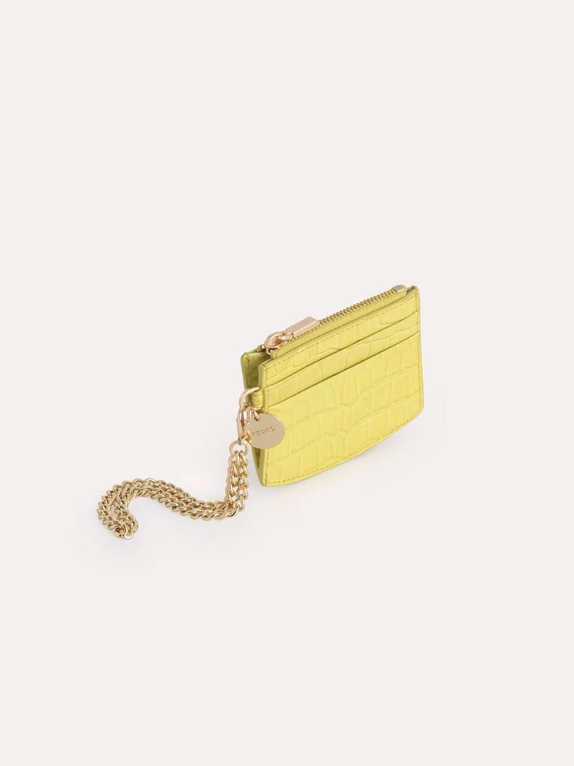 Textured Leather Cardholder, Yellow, hi-res