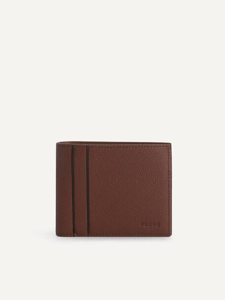 Textured Leather Bi-Fold Wallet, Cognac, hi-res