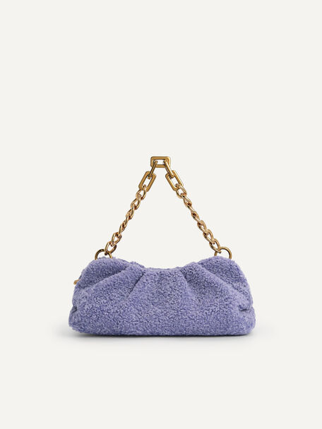 Shearling Chained Clutch, Violet, hi-res