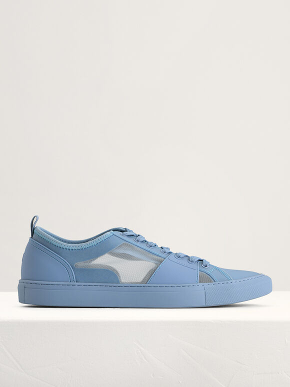 Mesh Court Sneakers, Light Blue, hi-res