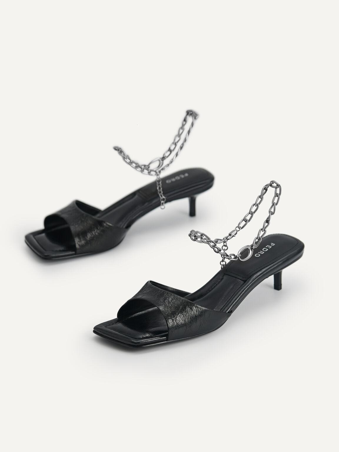 Chain-Strap Leather Heeled Sandals, Black, hi-res