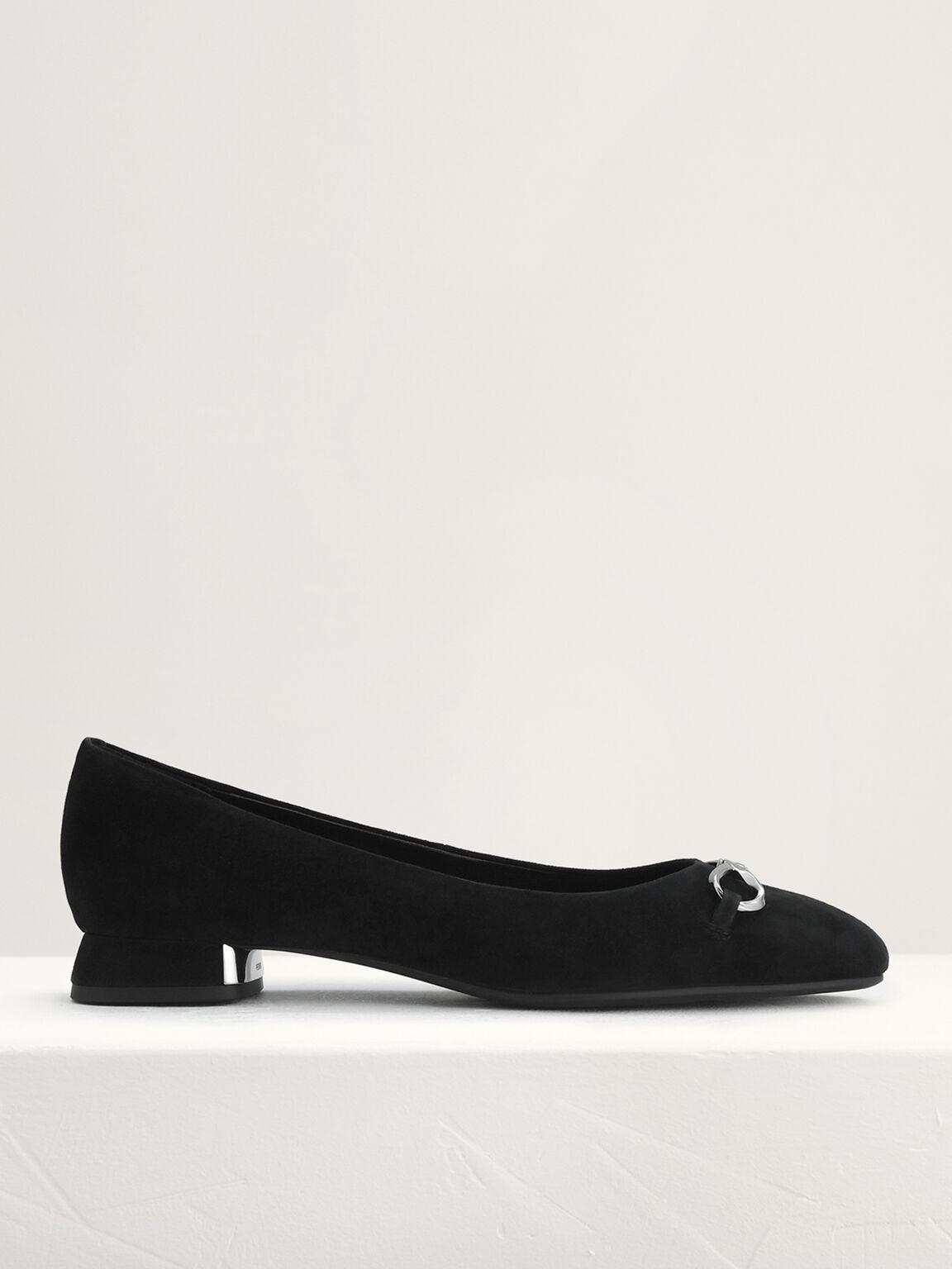 Suede Leather Ballerina Flats, Black, hi-res