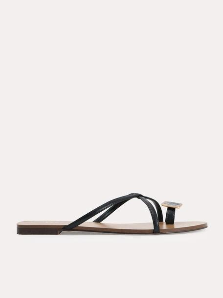 Marbled Toe Loop Sandals, Black, hi-res