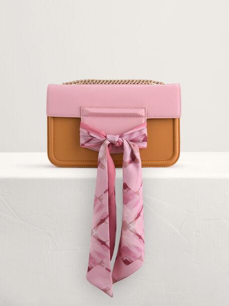 Boxy Shoulder Bag with Scarf, Multi, hi-res