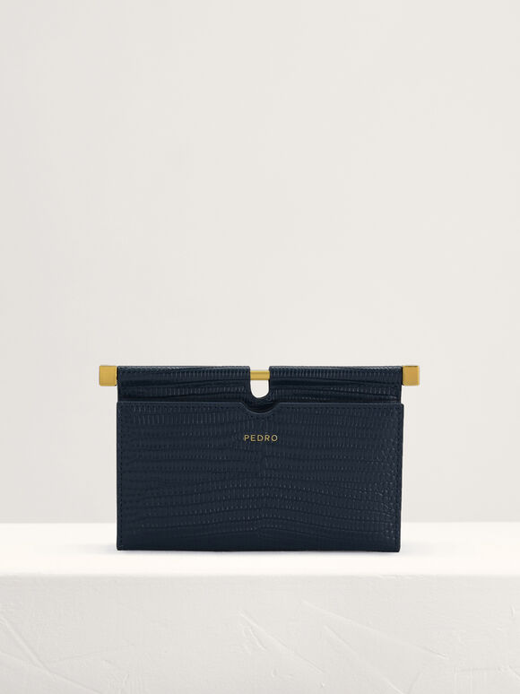 Lizard-Effect Leather Card Holder, Navy, hi-res