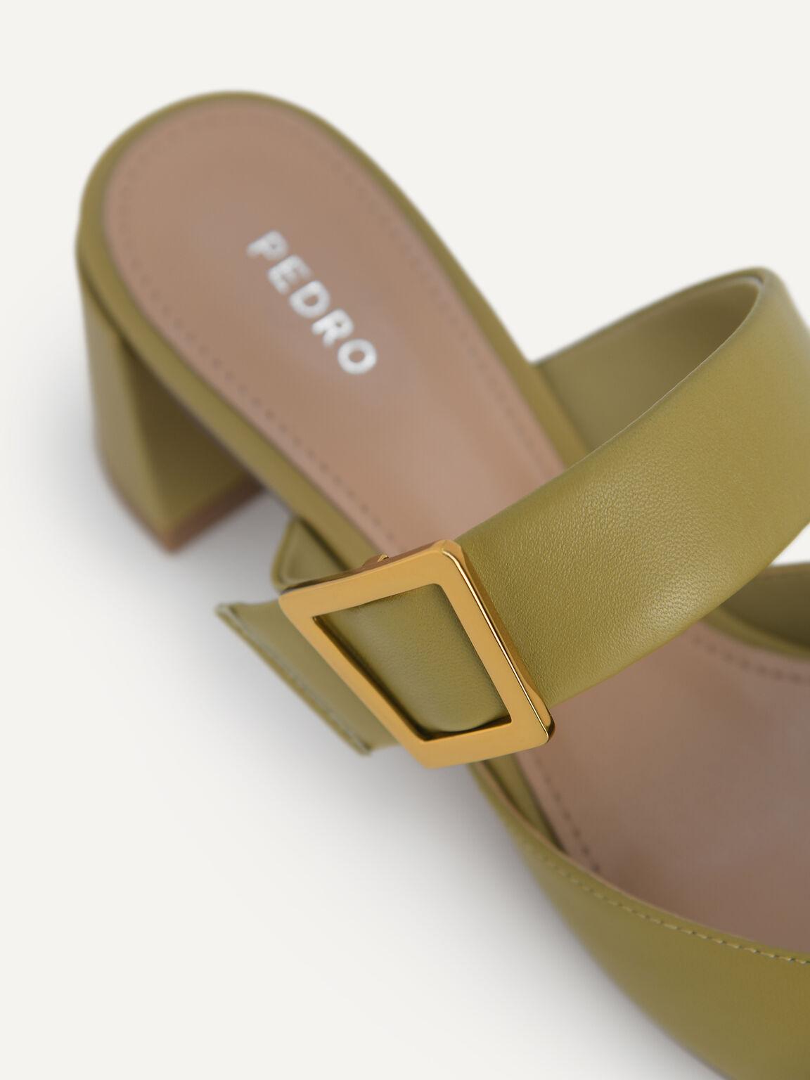 Leather Slip-On Heels, Olive, hi-res
