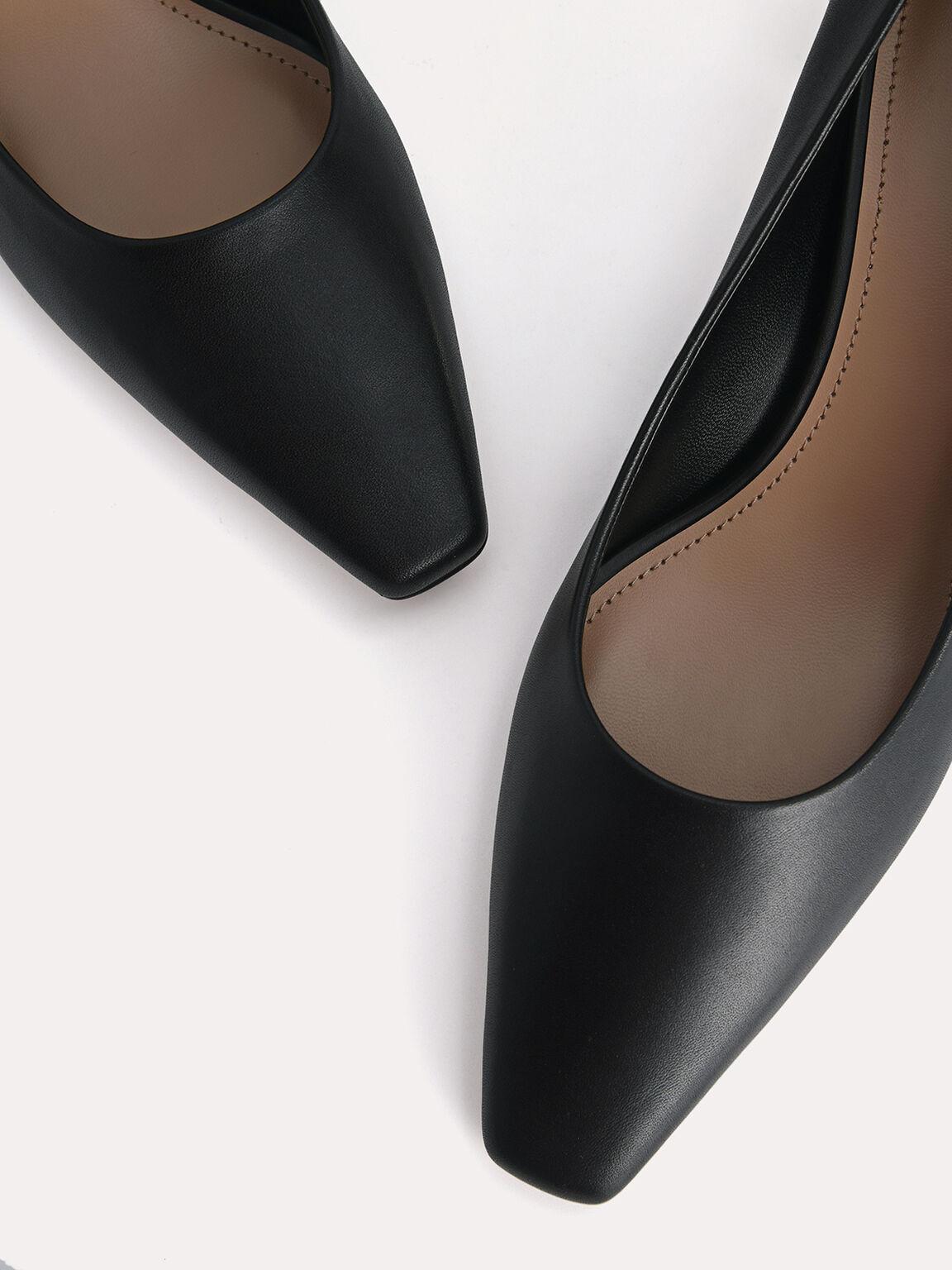 Square-Toe Leather Pumps, Black, hi-res