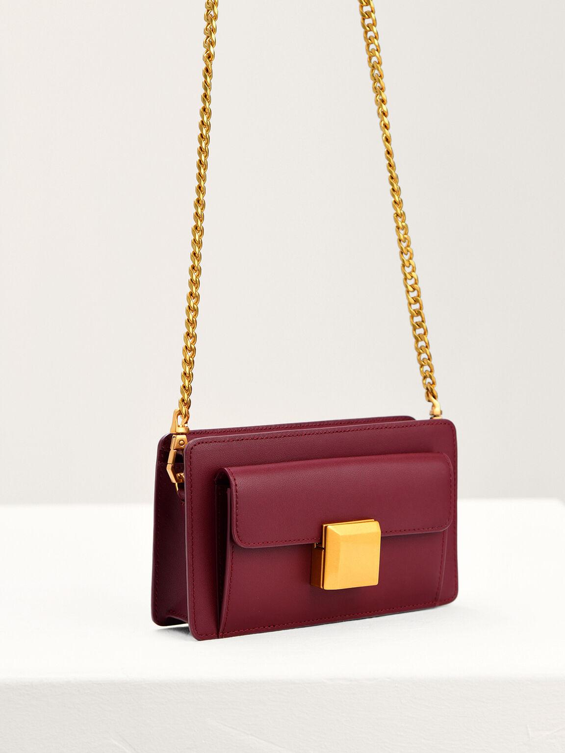 Leather Mini Shoulder Bag, Wine, hi-res