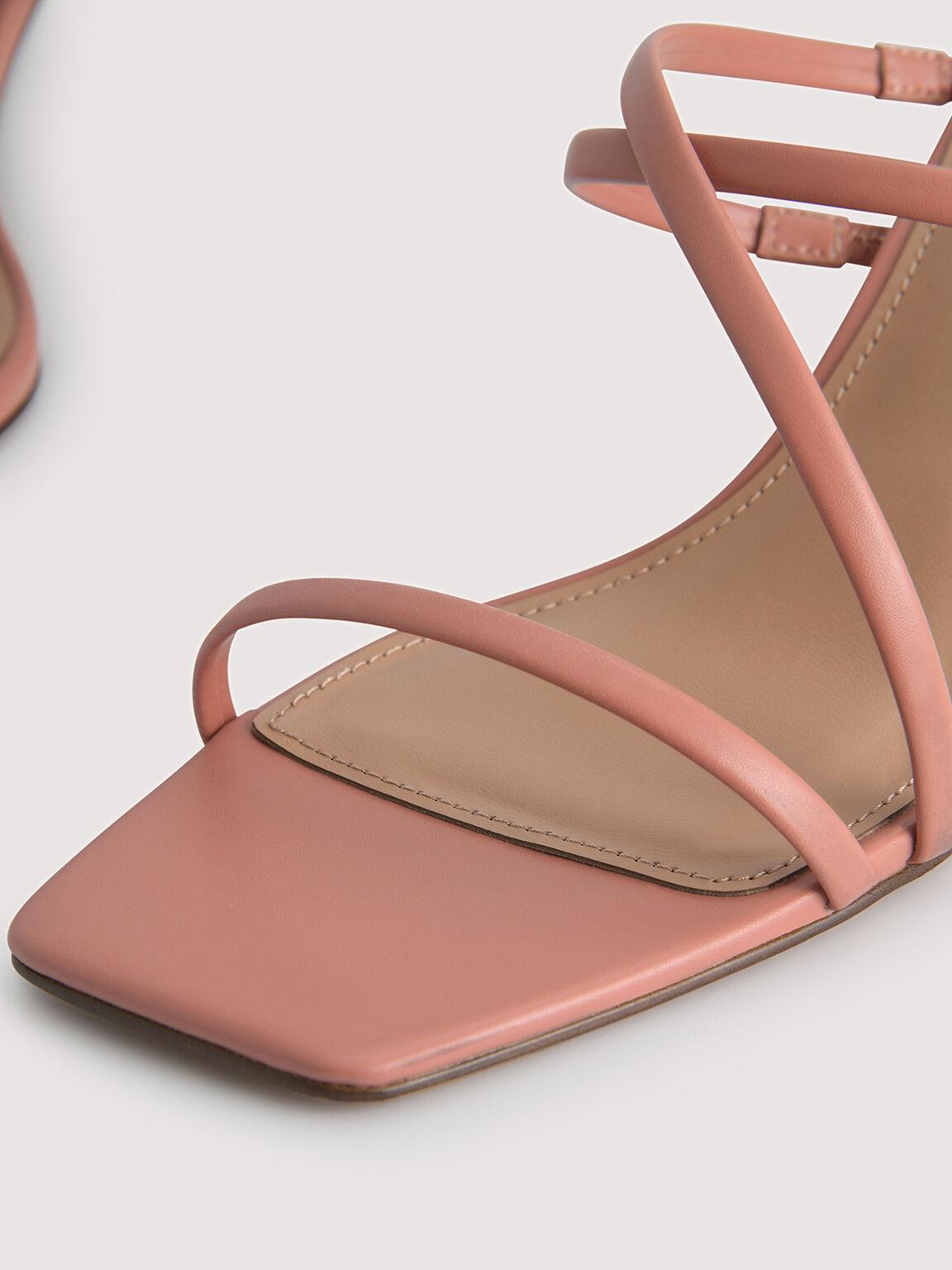 Strappy Heel Sandals, Coral, hi-res
