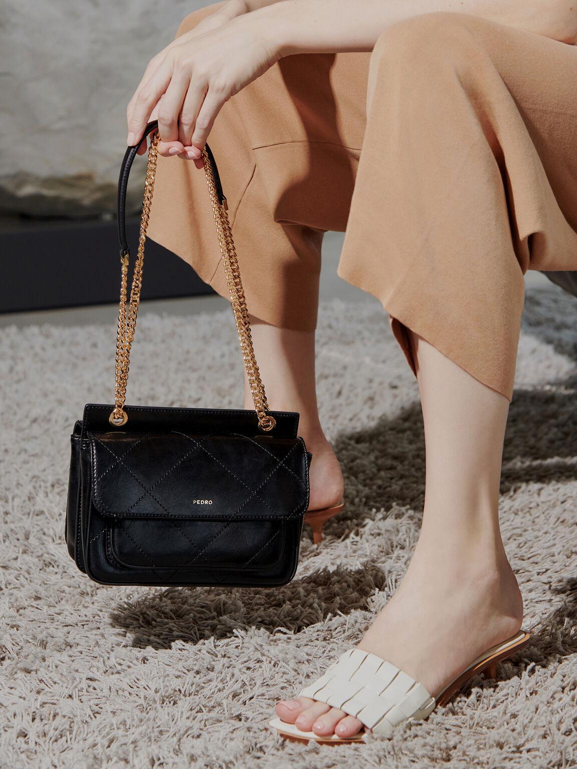 Leather Shoulder Bag, Black, hi-res