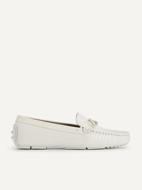 Lizard-effect Leather Bow Moccasins, Chalk, hi-res