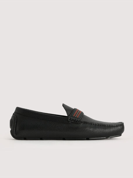 Detailed Leather Moccasin, Black, hi-res