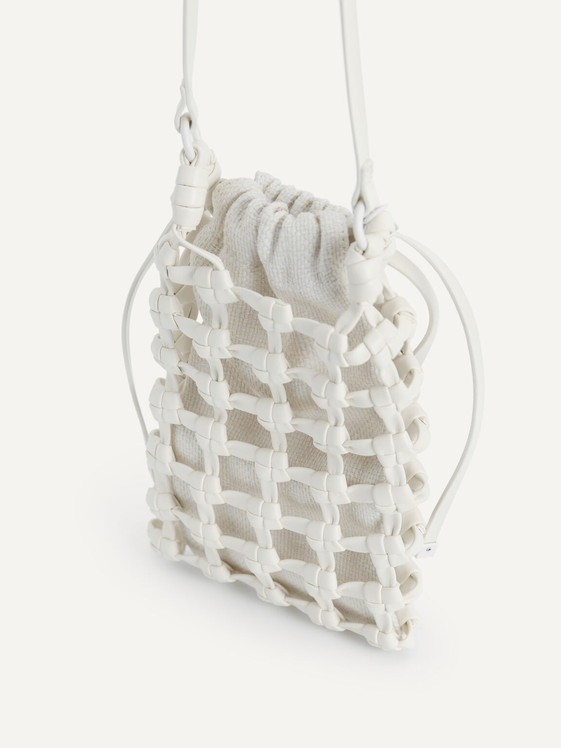 Woven Drawstring Pouch, White, hi-res