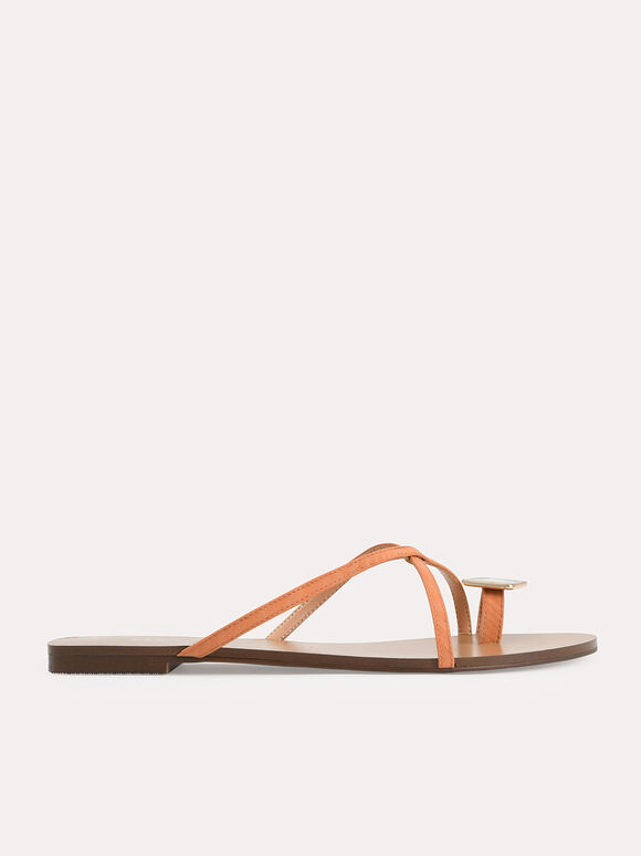 Marbled Toe Loop Sandals, Orange, hi-res