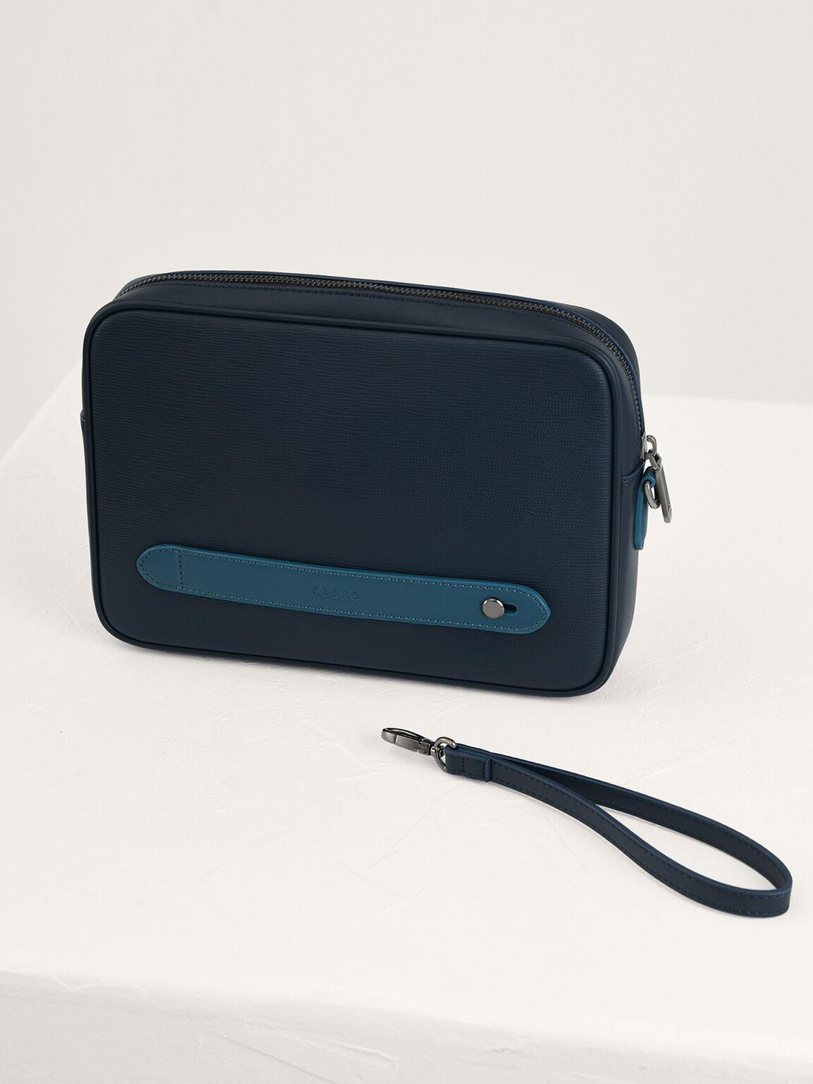 壓花皮革手拿包, 海军蓝色, hi-res