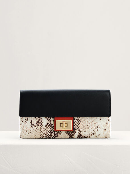Snake-Effect Leather Wallet On Chain, Multi, hi-res