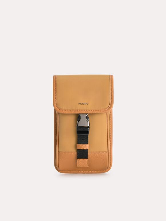 Nylon Phone Pouch, Cognac, hi-res