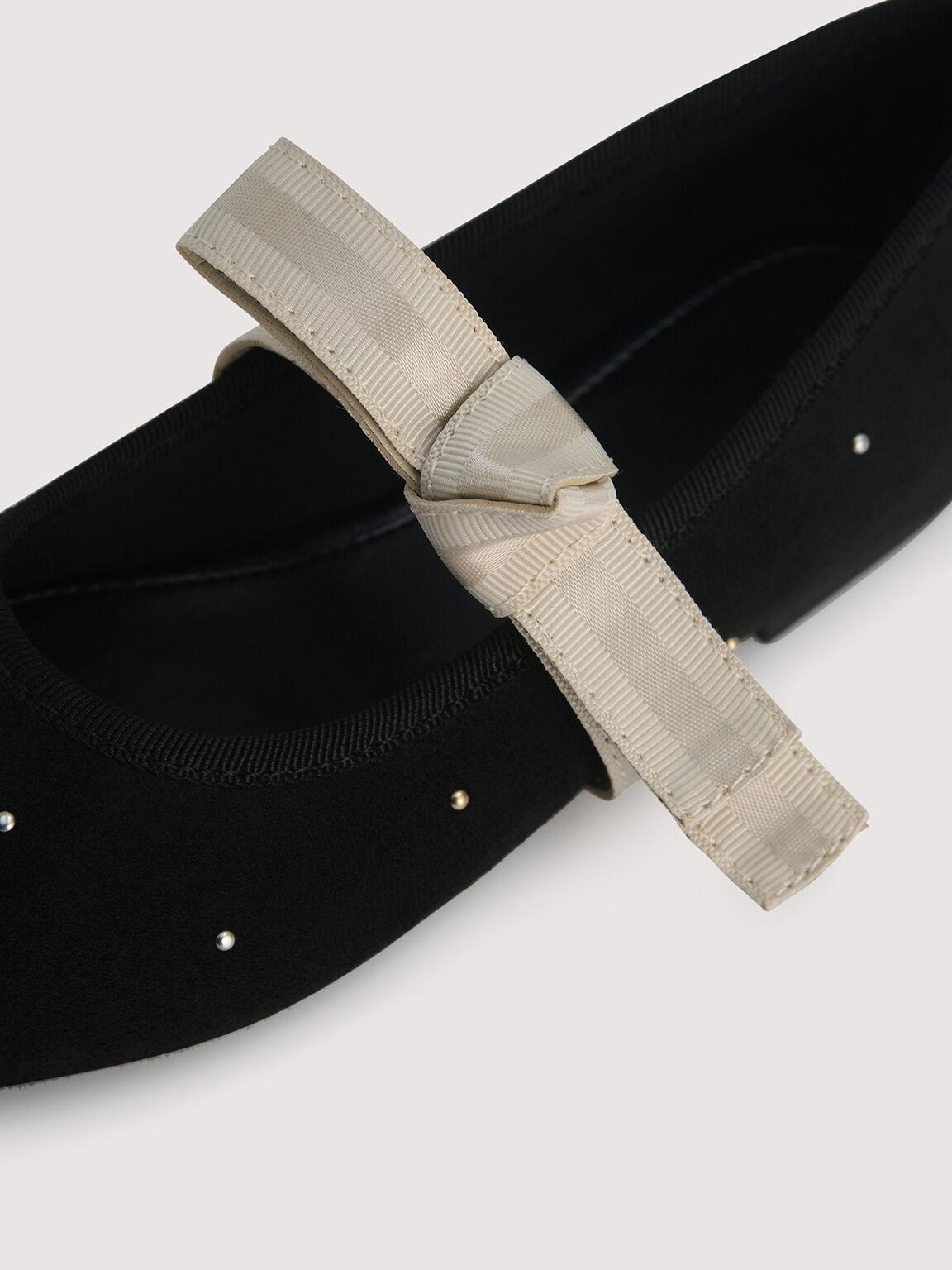 Ballerina Flats with Pearl Detailing, Black, hi-res