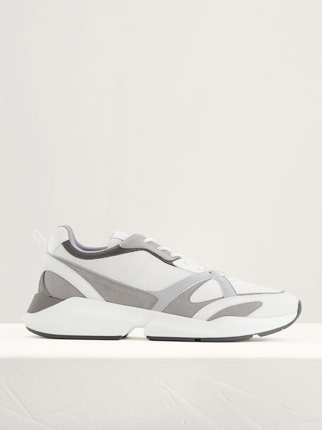 Suede and Mesh Sneakers, White, hi-res