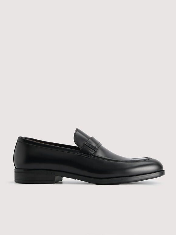 Leather Loafers with Embelishment, Black, hi-res