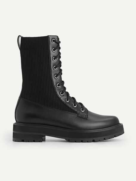 Chunky Lace-up Boots, Black, hi-res
