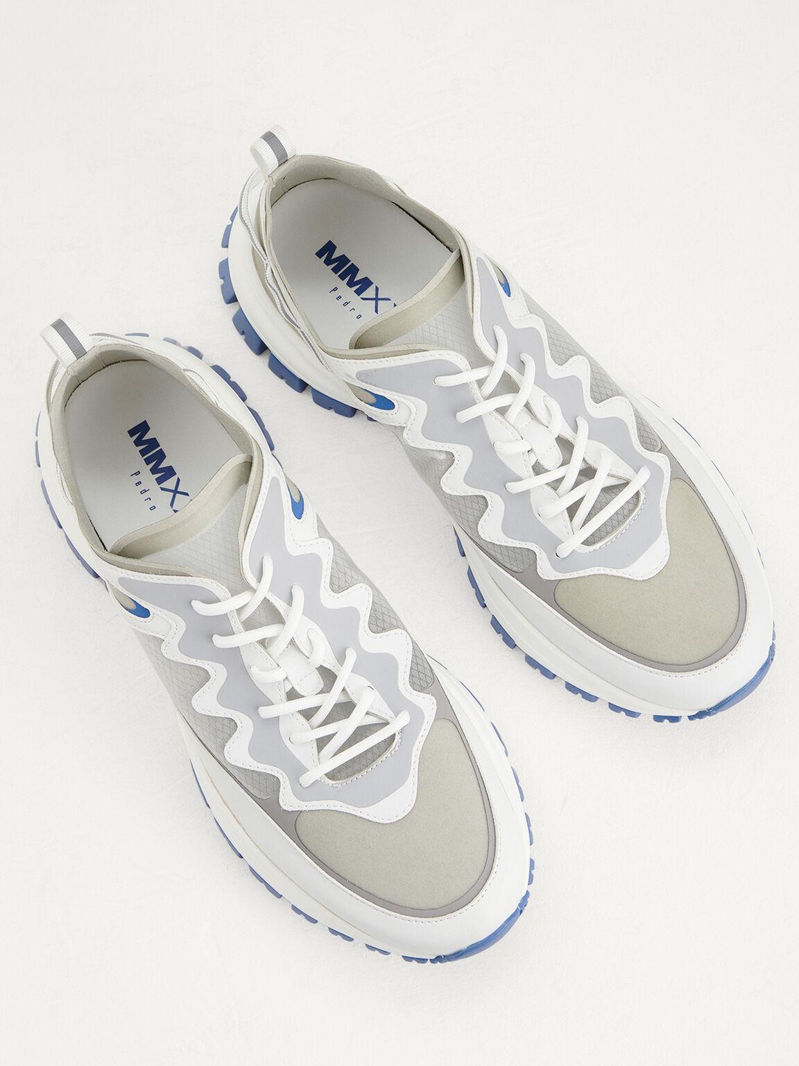 Chunky Mesh Sneakers, White, hi-res
