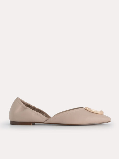 Leather Flats, Nude, hi-res