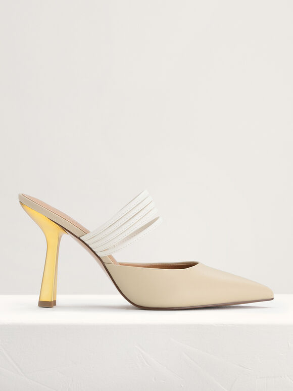 Leather Pointed Heeled Mules, Beige, hi-res