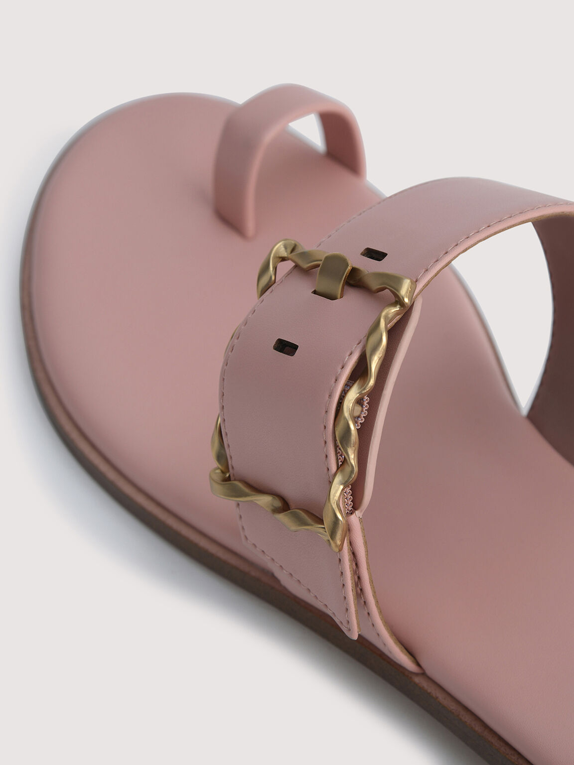 Toe Loop Sandals with Gold Buckle, Nude, hi-res