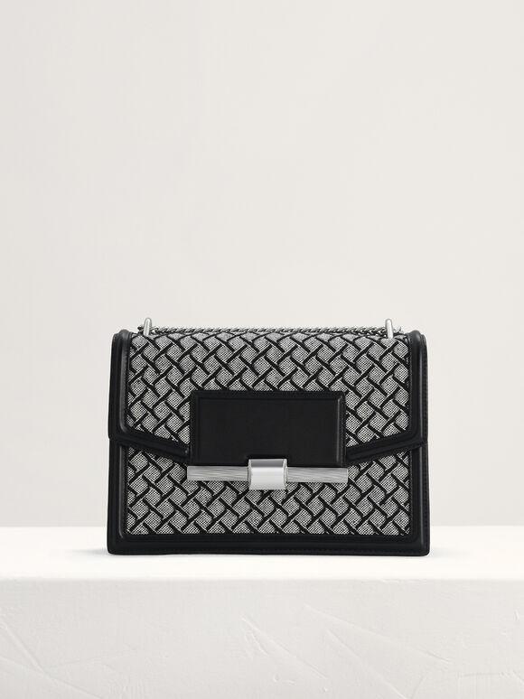 Canvas Structured Shoulder Bag, Black, hi-res
