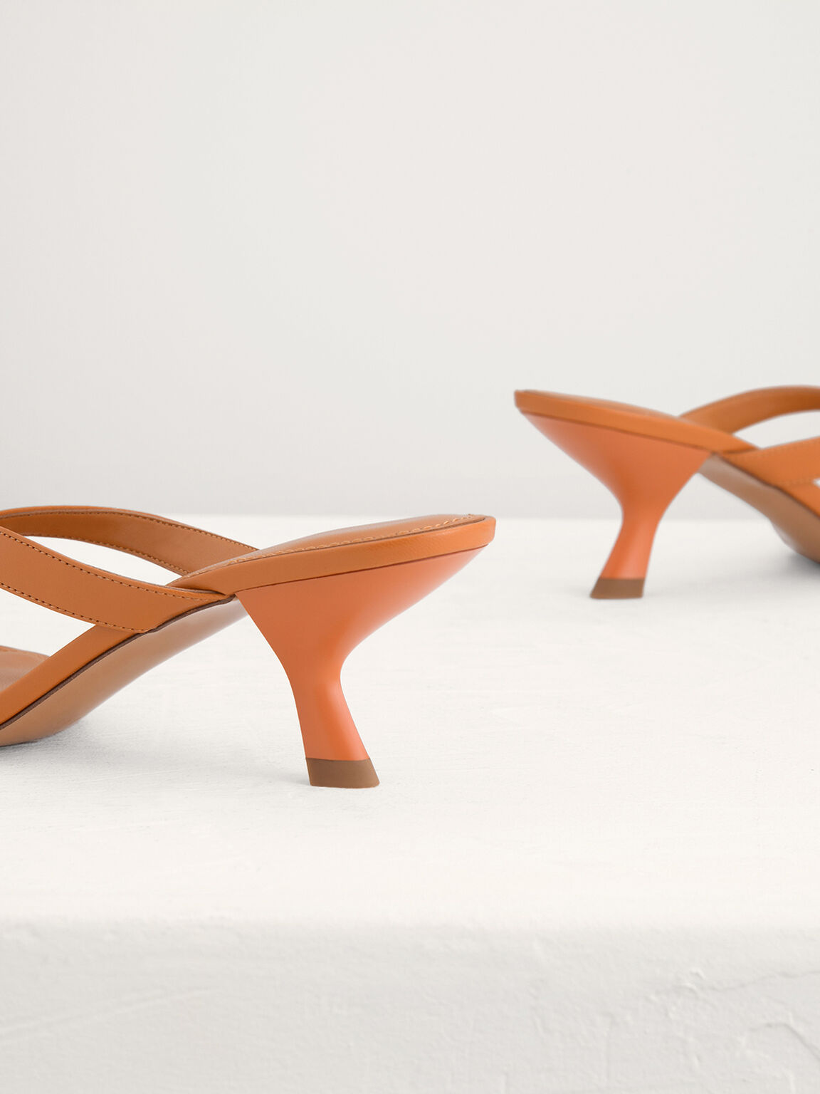 Square Toe Thong Heeled Sandals, Camel, hi-res
