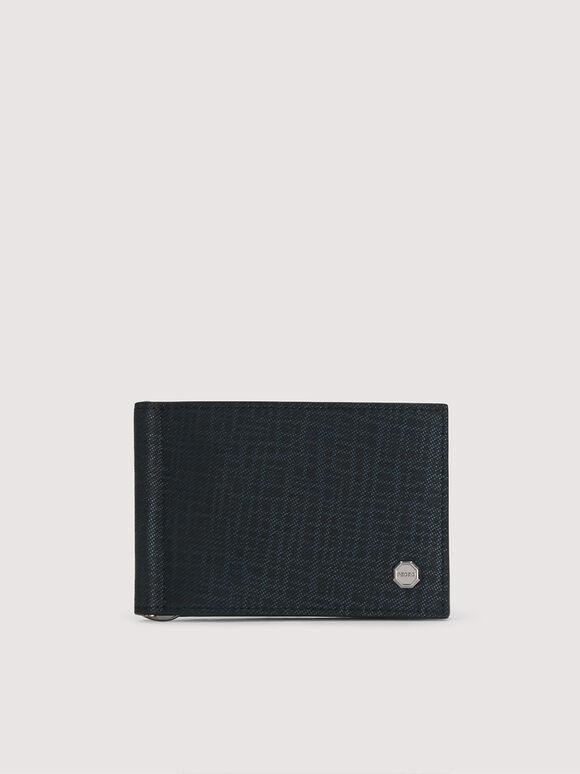 Leather Bi-Fold Cardholder with Money Clip, Navy, hi-res