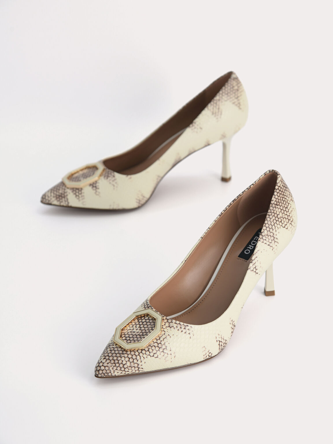 Printed Leather Pointed Toe Pumps, Multi, hi-res