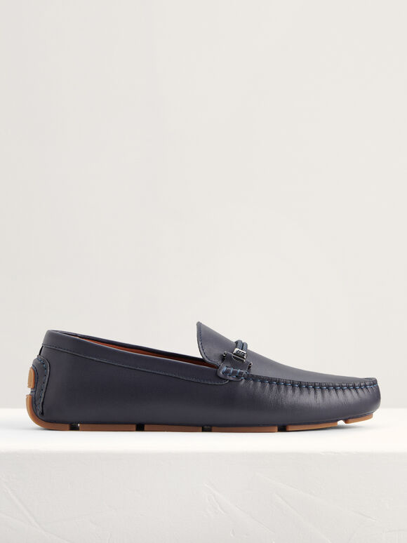 Bit Moccasins with Braided Detail, Navy, hi-res