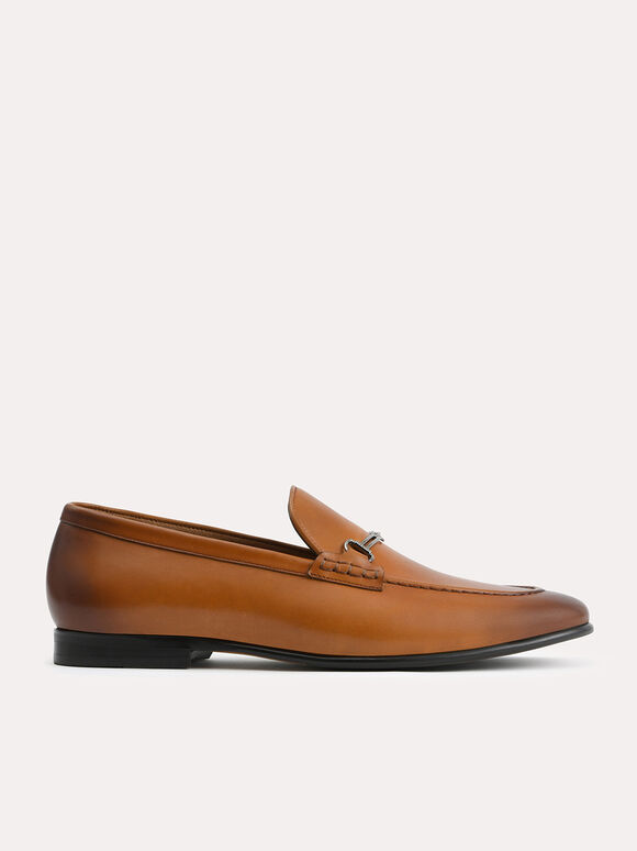 Burnished Leather Loafers with Bit Detailing, Camel, hi-res