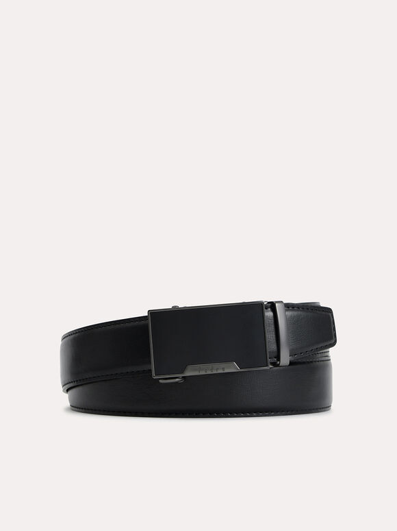 Automatic Textured Leather Belt, Black, hi-res