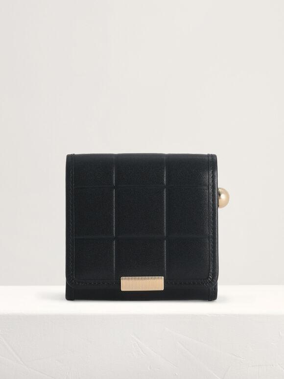 Qulited Leather Wallet, Black, hi-res