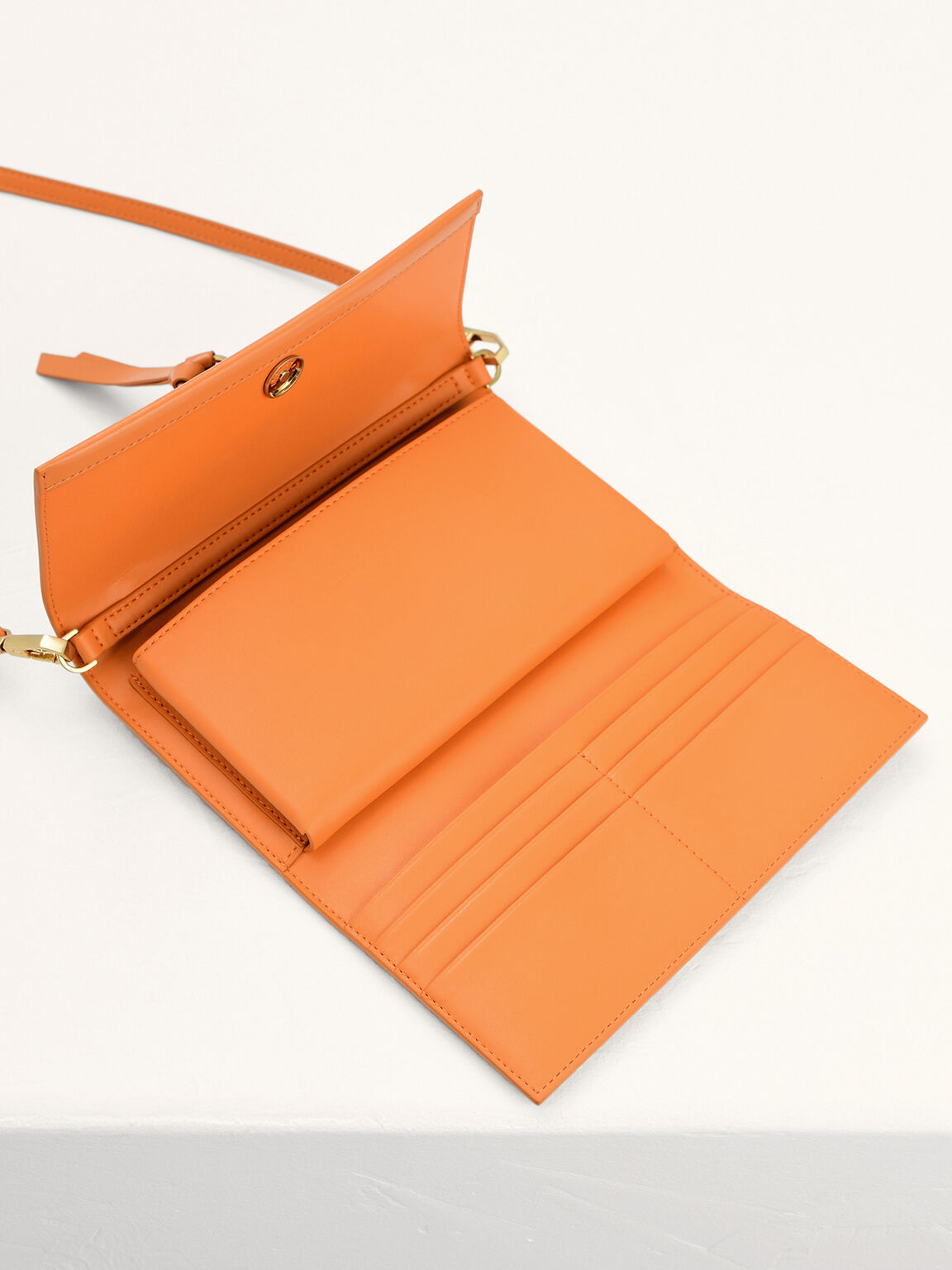 Leather Tasselled Tri-Fold Wallet, Orange, hi-res