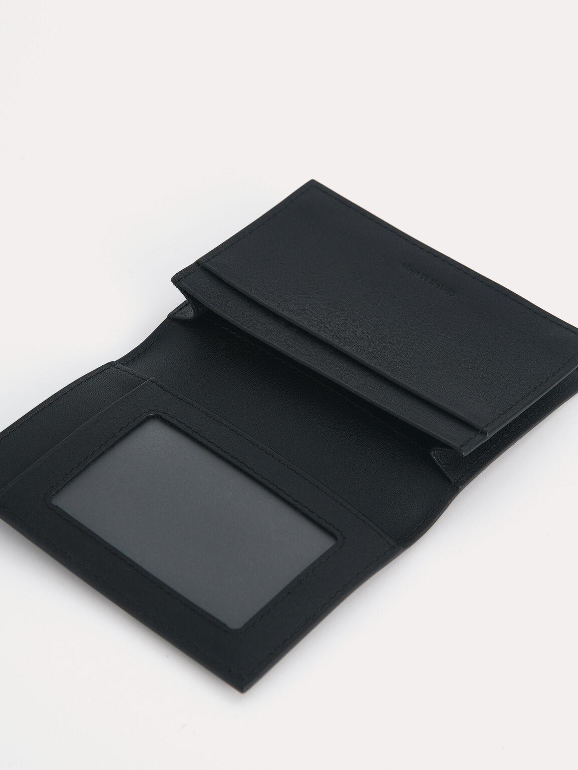 織紋皮革雙折疊卡包, 黑色, hi-res