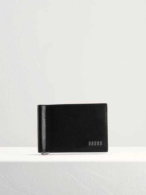 Embossed Bi-Fold Card Holder with Money Clip, Black, hi-res