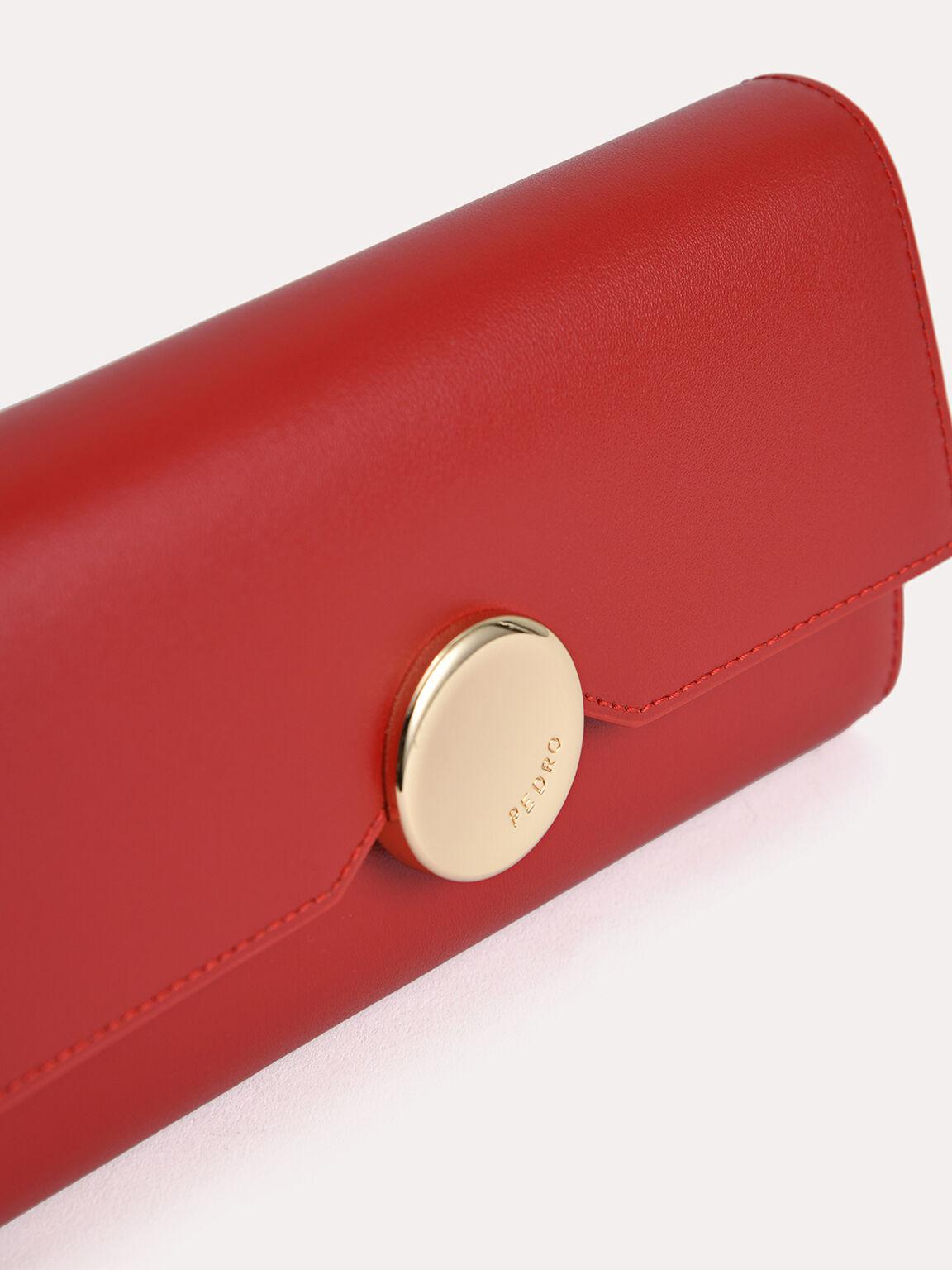 Long Leather Bi-Fold Wallet, Red, hi-res