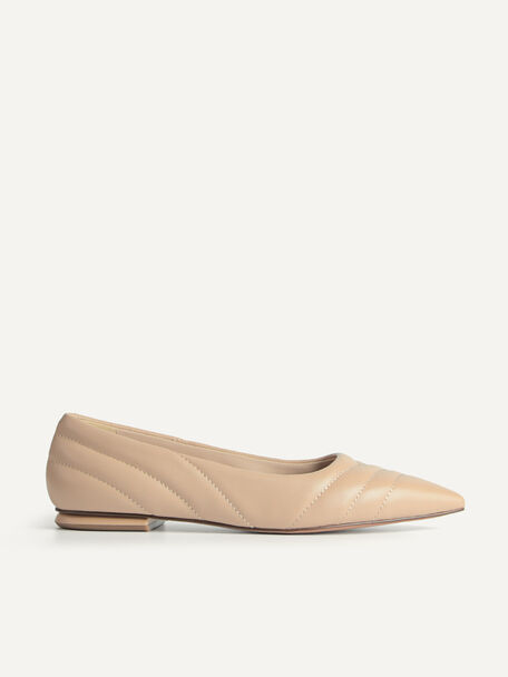 Pointed Toe Leather Flats, Sand, hi-res