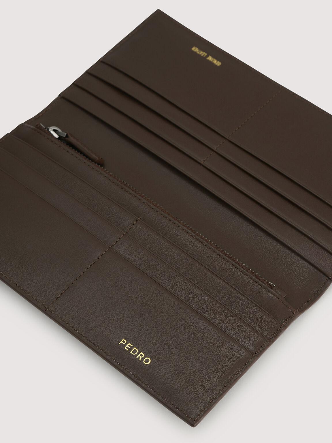 Long Leather Wallet, Dark Brown, hi-res