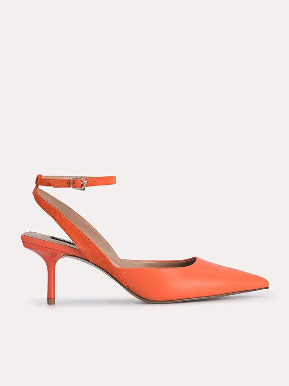 Leather Pointed Toe Pumps, Orange, hi-res