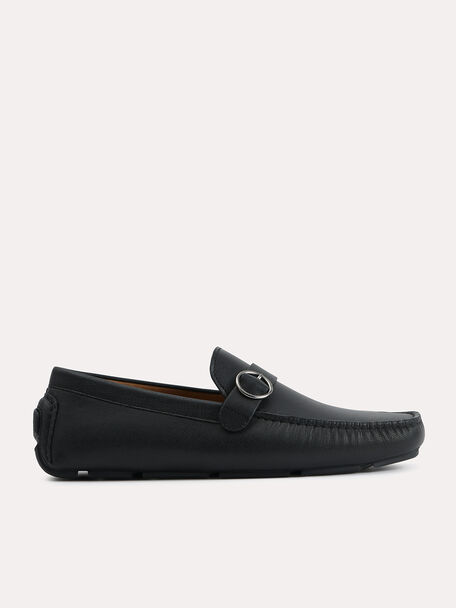 Textured Leather Moccasins with Buckle Detailing, Black, hi-res