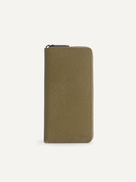 Long Leather Zip Wallet, Olive, hi-res