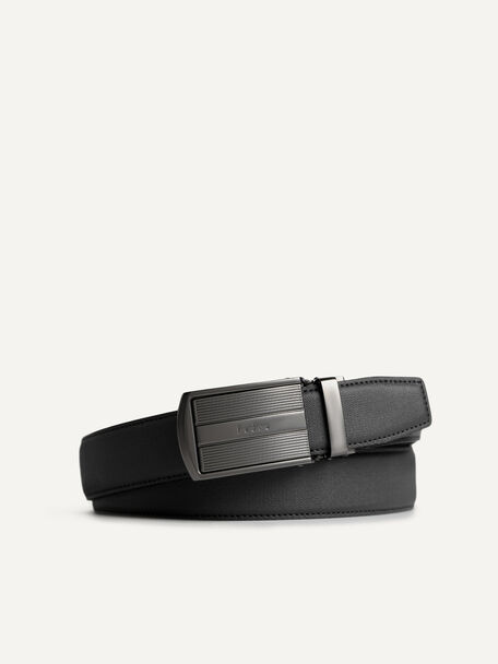 Leather Belt with Statement Buckle, Black, hi-res