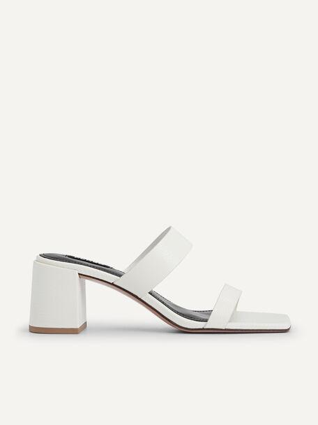 Lizard-effect Heeled Sandals, Chalk, hi-res